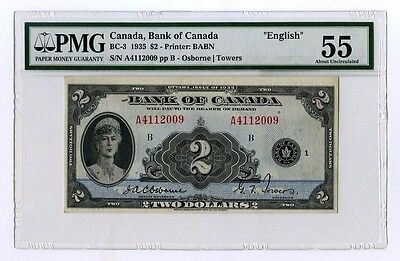 1935 Bank of Canada Two Dollar Note - PMG AU 55  # BC-3 English - Canada $2 Note