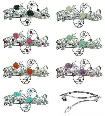 Large Ribbon Barrette Hair Clips Silvery White Plating 9 Colors U2284