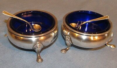Pair ANTIQUE George II STERLING SALT CELLARS Cobalt Glass w SPOONS Frank Whiting