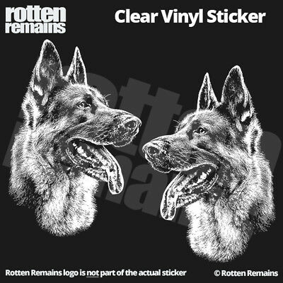 "German Shepherd Dog Clear Gloss Decal Sticker 5"" SET Alsatian GSD K9 Art ZU1"