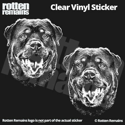 "Rottweiler Clear Gloss Decal Sticker 5"" SET Rottie Dog Sign Art K9 Canine ZU1"