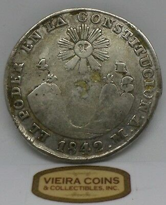 1842 MV Quito  Ecuador Silver 4 Reales KM#24, Hard to Find- #10290