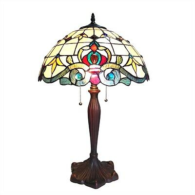 PAIR Handcrafted Victorian Design Tiffany Style Stained Glass Table Desk Lamps