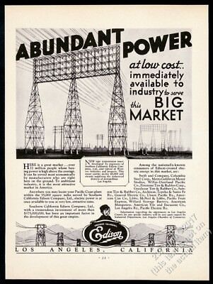 1931 Southern California Edison power transmission lines tower vintage print ad