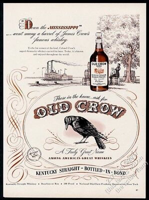 1947 Old Crow Bourbon whiskey black bird Missisippi River riverboat print ad