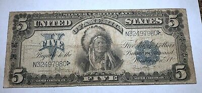 Series 1899 $5 Large Note INDIAN CHIEF Silver Certificate FREE SHIPPING N558AETX