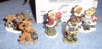Boyds Bearly Built Villages Kringles Village lot of 5 miniature figurines