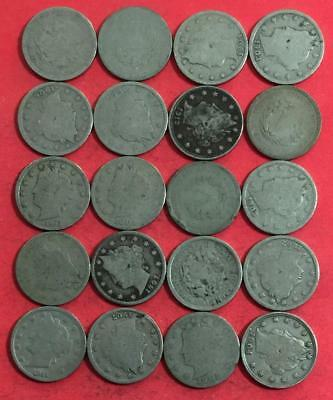 """1800s-1900s US LIBERTY """"V"""" Nickels SEt of 20 Assorted! Old US Coins!"""