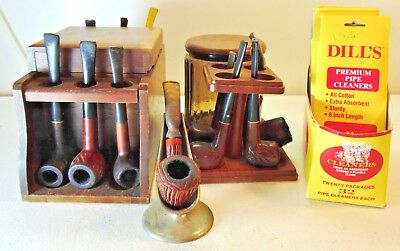 Lot 14 Estate Pipes and 2 Stands Glass Tobacco Holder Cleaners Presmoked Vintage