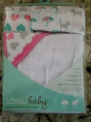 ideal baby hooded towel & washcloths set by the makers of aden + anais