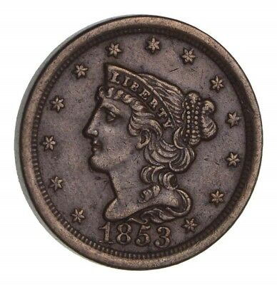 1853 Braided Hair Half Cent - Circulated *1373