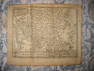 Antique 1747 Asia Bowen Dated Copperplate Map Arabia China Japan Korea India Nr