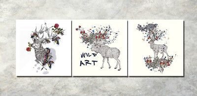 "3PCS 16X16"" XMAS Wild Art Deer Wall Decor Art Oil Painting on Canvas frame 1056"