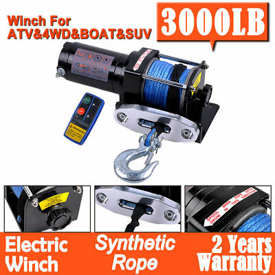Electric Winch 3000LB 1361KG 12V Wireless Synthetic Dyneema Rope SUV ATV 4WD UTE