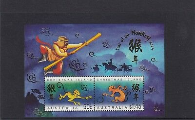 CHRISTMAS IS  2004  Year of the MONKEY MINISHEET MNH