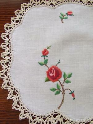 Superbly Hand Embroidered Vintage Centre - Variegated Red Roses - Crochet Edging