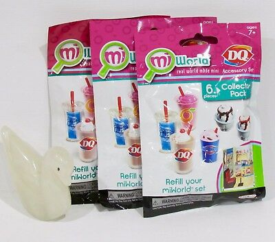 X3 ~ MiWorld Dairy Queen DQ 2015 Collector Packs Drinks/Ice-Cream Sealed