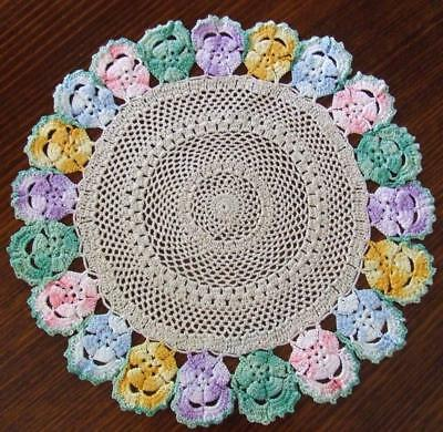 Superb Vintage Ecru Hand Crocheted Doily with an Edging of Variegated Pansies