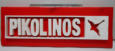 "Pikolinos Advertising Display Sign Wood With Raised Lettering 5 1/2"" X 15 3/4"""