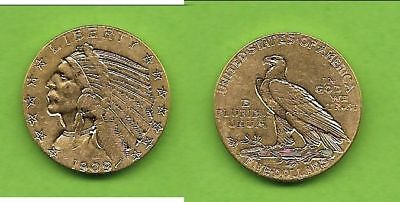 5 $ USA Indian Head Indianer Gold 1909