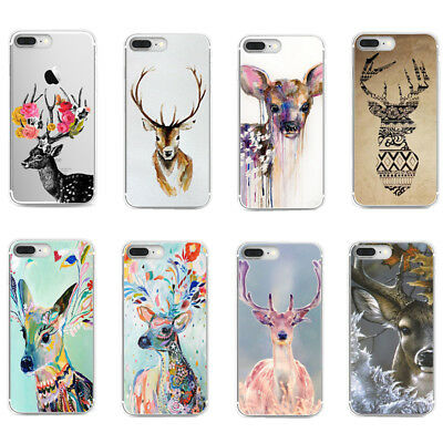 Deer Pattern Soft TPU Ultra Thin Shockproof Case Cover For iPhone X 8 7 Plus 6s