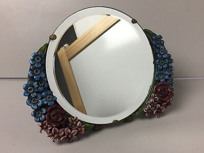 Vintage Barbola Floral Gesso Decorated Vanity Dressing Mirror Circle Bevelled