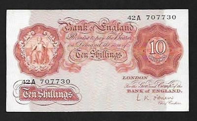 1955  OBRIEN Ten Shilling REPLACEMENT Note  42A  GVF B272  SN9137 REDUCED BY 50%