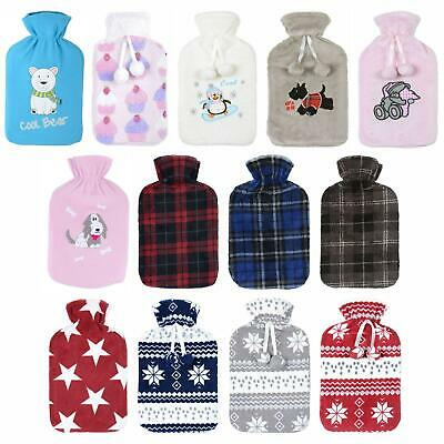 Large Hot Water Bottle With Soft Fleece Cover Assorted Styles Heat Therapy 2L