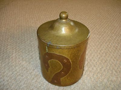 Arts & Crafts mission style humidor brass copper hammered rivets Heintz form
