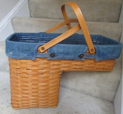 1998 Longaberger Step it Up Stair Basket Combo with Denim Liner, Protector