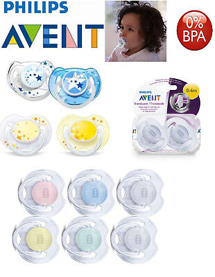 Baby Soother Dummy Nipple Philips Avent Night Time 0-6m / 6-18m Pacifier New