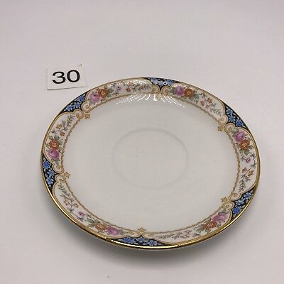 """National China Saucer Plate 5.5"""" Ornate Gold Floral Display Scarce Style Vintage"""