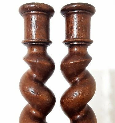 """Spiral Turned Barley Twist Column 24"""" Matched Pair Antique French Wood Pillar"""