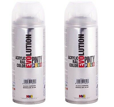 2 x BOMBE / AEROSOL VERNIS INCOLORE brillant PINTY 100% ACRYLIQUE INT/EXTRIEUR
