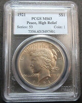1921 High Relief Peace Silver Dollar Coin - Pcgs Ms 63