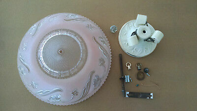 "Antique ""Pink"" frosted glass art deco light fixture ceiling chandelier Porcelier"