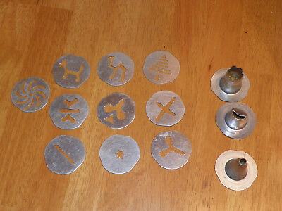 13 pc Mirro Cookie Press Replacement 10 Plates 3 Tips Camel Tree Star Swirl etc