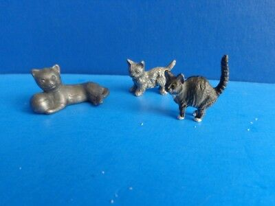 3 Miniature Collectible Pewter Cat Figures