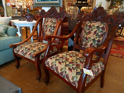 Antique Parlor Chairs Two Hand Carved Cherub His & Hers