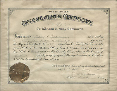 Vintage 1924 Optometrist's Certificate No. 458, State of New York, Oneida Couny