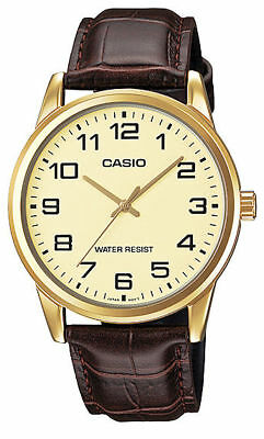 Casio MTP-V001GL-9B Men's Gold Tone Leather Band Easy Reader Gold Dial Watch