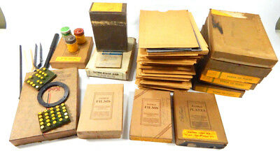Vintage Lot of Used Kodak Plates and Other Film Processing Items