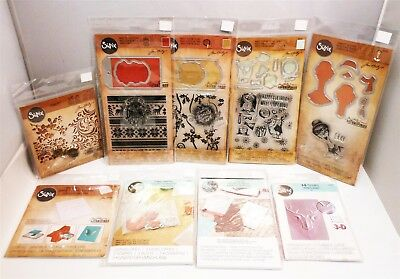 Mixed Lot of Tim Holtz Sizzix Framelits & Thinlits Die Sets and Accessories 9pcs