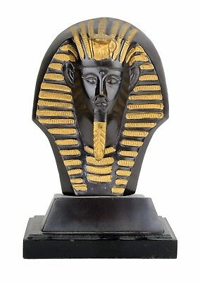 Egyptian King Tut Bust Statue Brass Wood Base 7.5'' Tall Book Case Home Gift
