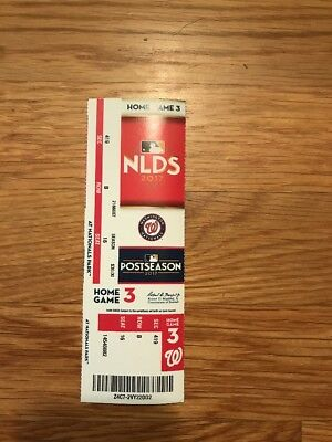 2017 Washington Nationals Vs Chicago Cubs Nlds Playoff Ticket Stub Game #5