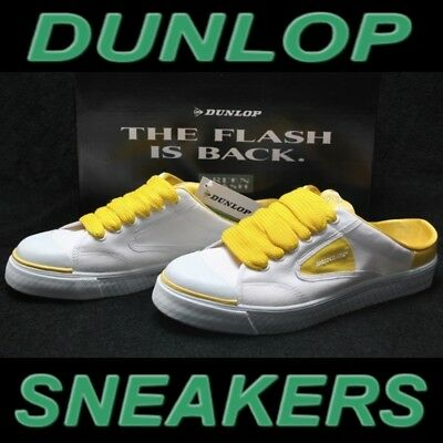 "Posten 10x Dunlop Green Flash"" Sneakers Unisex Retro White/Yellow Grösse 44 UK 9"