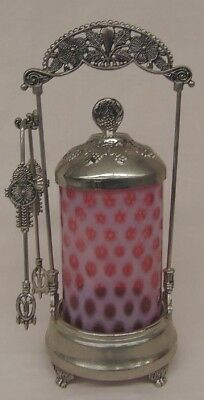 Cranberry Opalescent Silverplate Pickle Caster w/ Lid & Tongs Coin Dot Insert