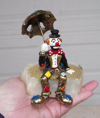 "Vintage 1985 Ron Lee Clown With Umbrella 5 1/4"" Tall 4"" Wide"