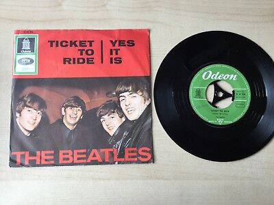 "The Beatles Ticket To Ride Yes It Is 7"" Odeon 22950 Single"