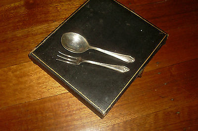 Set of 6 Cake Forks & Sweets Spoons -Boxed Vintage  Deco Silver Plate EPNS